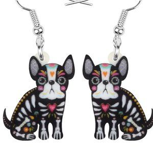 Day of the Dead Skeleton Puppy Dog Earrings